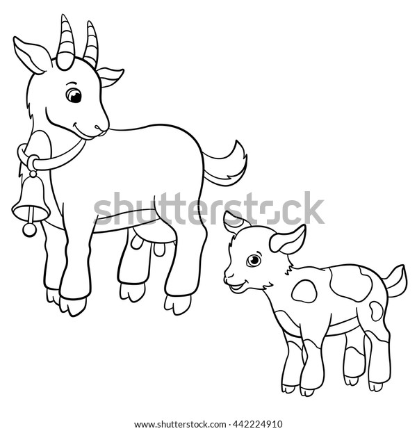 Coloring pages. Farm animals. Cute mother goat looks at the little goatling and smiles.