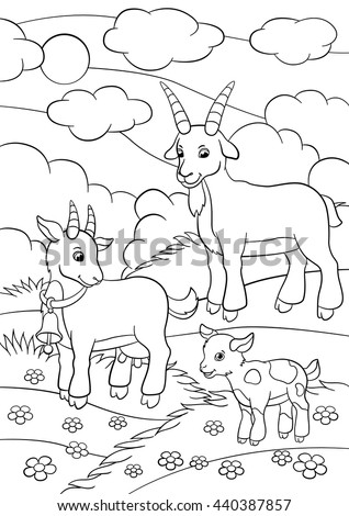 Coloring Pages Farm Animals Father Goat Stock Vector (Royalty Free ...