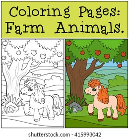 Coloring Pages Farm Animals Little Cute Pony Stands Near The Apple Tree