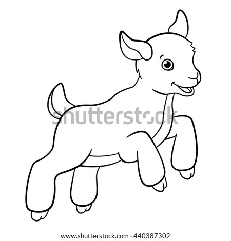 Coloring Pages Farm Animals Little Cute Stock Vector Royalty Free
