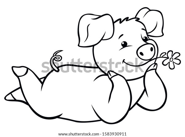 Coloring Pages Farm Animals Little Cute Stock Vector (Royalty Free ...