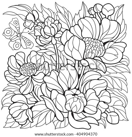 Coloring Pages With Flowers Peonies And Butterfly
