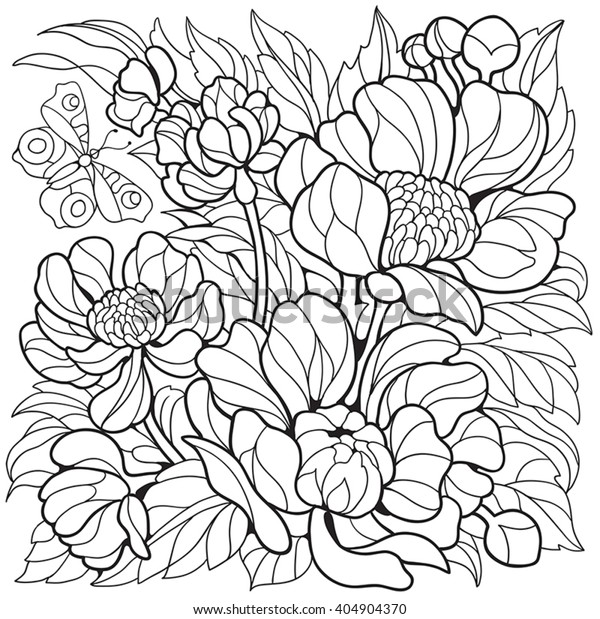 Coloring Pages Flowers Peonies Butterfly Stock Vector ...