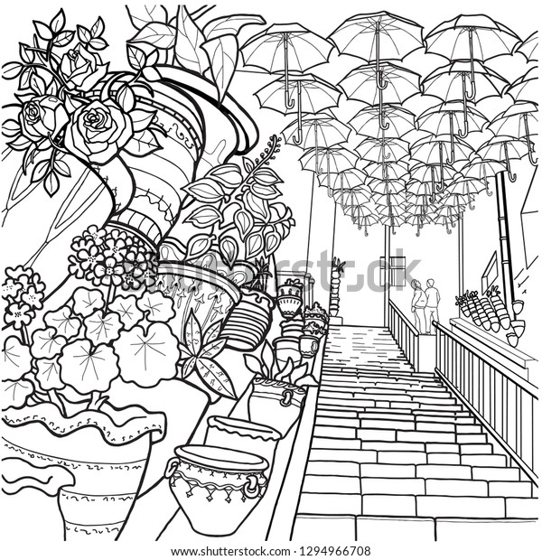 Coloring Pages Flying Umbrellas People Climbing Stock Vector