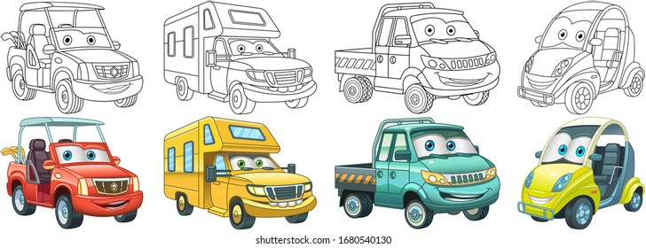 Coloring pages. Golf and micro cars, recreational vehicle, van. Cartoon clipart set for kids activity colouring book, t shirt print, icon, logo, label, patch or sticker. Vector illustration.