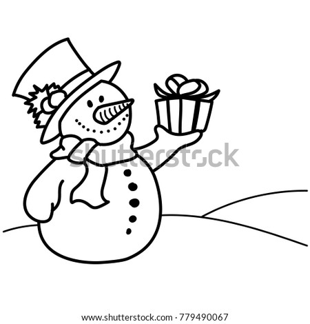 Coloring Pages Hand Drawn Snowman Holding Stock Vector (Royalty Free ...