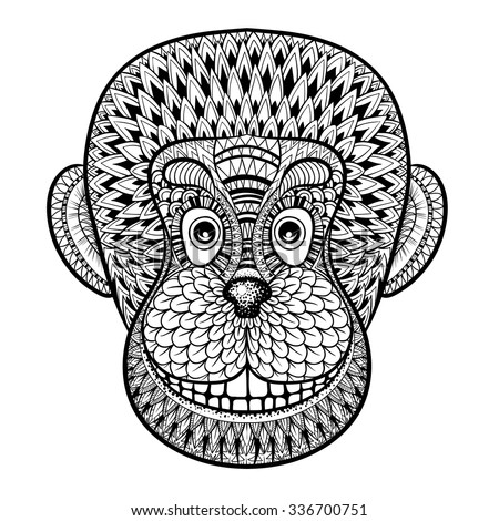 Coloring Pages Head Monkey Gorilla Zentangle Stock Vector (Royalty ...