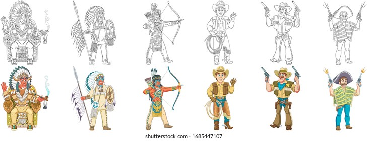 Coloring pages. Historical characters. Cartoon clipart set for kids activity coloring book, t shirt print, icon, logo, label, patch or sticker. Vector illustration.
