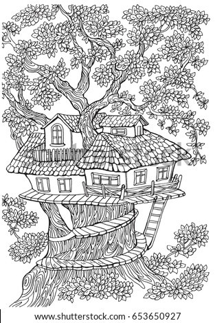 tree house coloring pages Coloring Pages Kids Adults Tree House Stock Vector (Royalty Free  tree house coloring pages