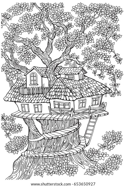 Coloring Pages Kids Adults Tree House Stock Vektorgrafik Lizenzfrei