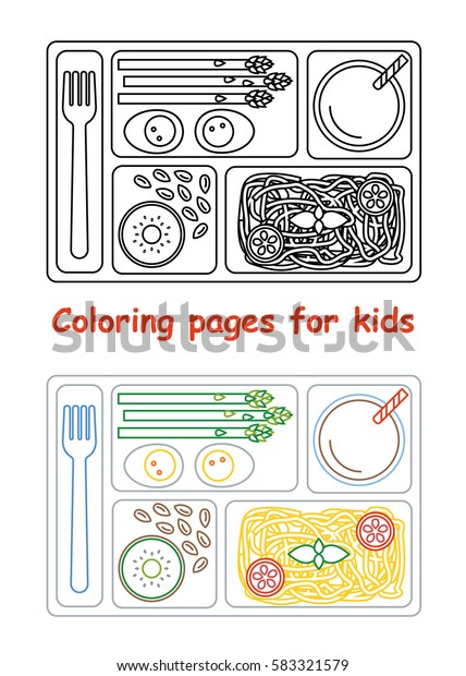 Coloring Pages Kids Lunch Tray Line Stock Vector Royalty Free 583321579