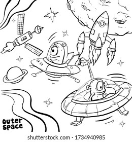 Coloring Pages For Kids : Outer Space Fantasy (Black And White Illustration)