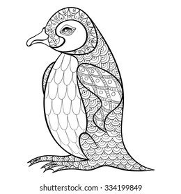 Coloring pages with King Penguin, zentangle illustration for adult anti stress Coloring books or tattoos with high details isolated on black background. Vector monochrome bird sketch.
