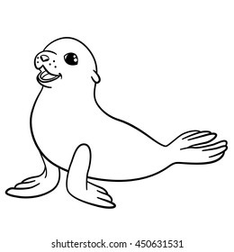 Coloring pages. Little cute baby fur seal lays and smiles.