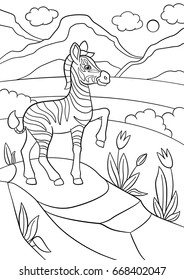 Coloring Pages Little Cute Baby Zebra Stands On The Stone