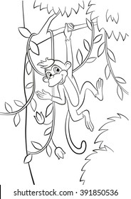 Cute Monkey coloring page | 280x184
