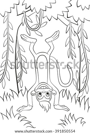 Coloring Pages Little Cute Monkey Standing Stock Vector (Royalty ...