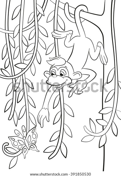 Coloring Pages Little Cute Monkey Hanging Stock Vector ...