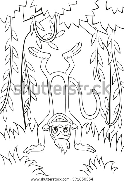 Coloring Pages Little Cute Monkey Standing Stock Vector ...