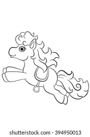 Coloring Pages Little Cute Pony Running And Smiling