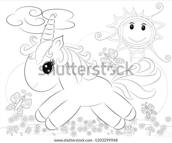 Coloring Pages Little Cute Pony Rainbow Stock Vector (Royalty Free ...
