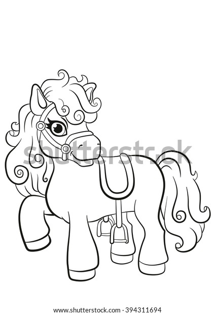 Coloring Pages Little Cute Pony Standing Stock Vector (Royalty ...