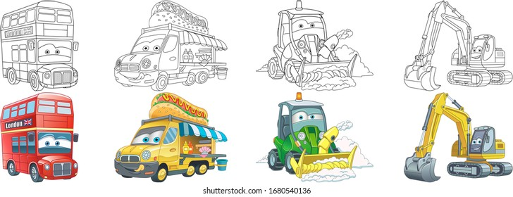 Coloring pages. London bus, food truck, tractors. Cartoon clipart set for kids activity colouring book, t shirt print, icon, logo, label, patch or sticker. Vector illustration.
