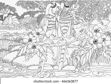 Coloring pages . Loving parrots on a background of a beautiful landscape with a waterfall . Parrots