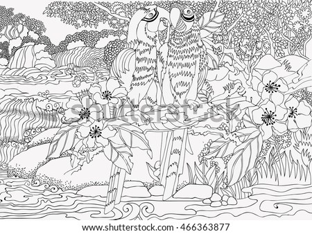 coloring pages loving parrots on background stock vector royalty
