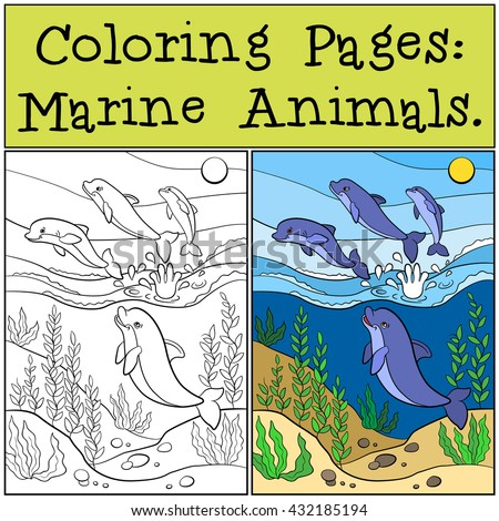 Coloring Pages Marine Animals Group Cute Stock Vector (Royalty Free ...