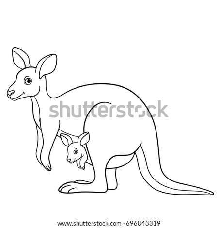 Coloring Pages Mother Kangaroo Her Little Stock Vector Royalty Free