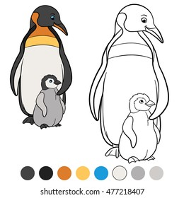 coloring pages mother penguin stands 260nw