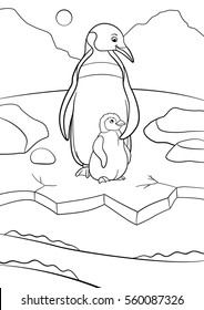 Coloring Pages Mother Penguin Stands With Her Little Cute Baby And Smiles