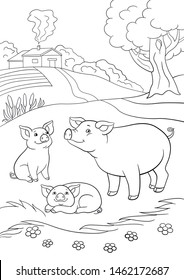 Coloring pages. Mother pig plays with her little cute piglets.