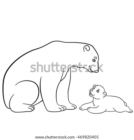 Coloring Pages Mother Polar Bear Sits Stock Vector Royalty Free