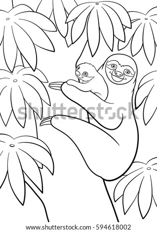 Coloring Pages Mother Sloth Her Little Stock Vector Royalty Free