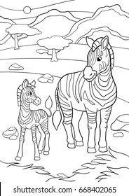 Coloring pages. Mother zebra with her little cute baby zebra.