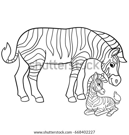 Coloring Pages Mother Zebra With Her Little Cute Baby