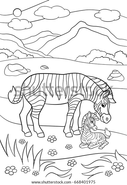Coloring Pages Mother Zebra Her Little Stock Vector Royalty
