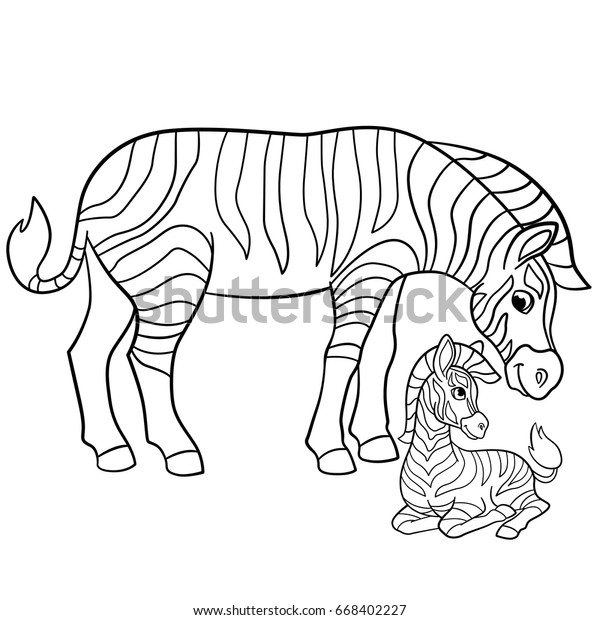 Coloring Pages Mother Zebra Her Little Stock Vector Royalty Free 668402227