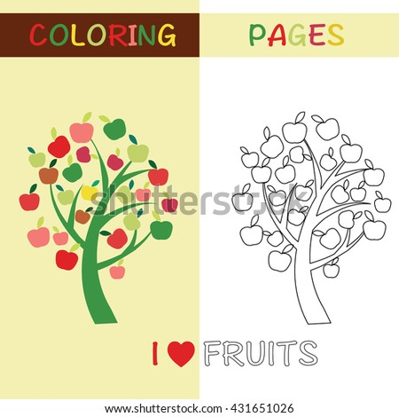 Coloring Pages Outline Apple Tree For Kids With Colorful And Sketches To Color