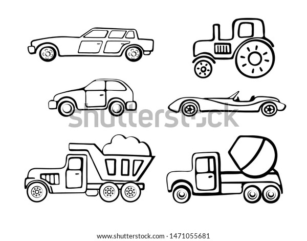 Coloring Pages Outline Cartoon Cars Coloring Stock Vector (Royalty ...