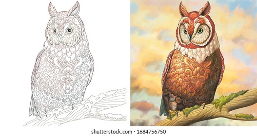 Coloring pages. Owl bird. Colorless and color sample painted in watercolor imitating style. Colouring design with doodle and zentangle elements. Vector illustration.