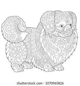 Coloring Pages. Pekingese or Japanese Chin Dog Breed. Adult Coloring Book idea. Antistress freehand sketch drawing with doodle and zentangle elements. Vector illustration.