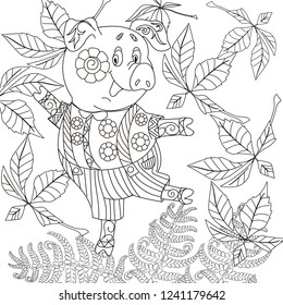 Coloring Pages. Pig - 2019 Chinese New Year symbol. Antistress freehand sketch drawing with doodle and zentangle elements.