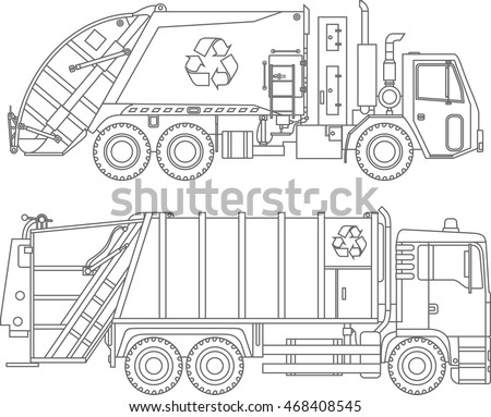 Coloring Pages Set Of Different Kind Garbage Trucks Flat Linear Icons Isolated On White Background