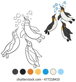 Coloring pages. Three little cute penguins swim and smile.