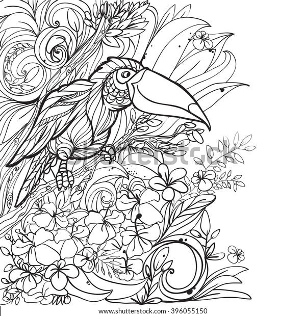 - Coloring Pages Tropical Birds Flowers Leaves Stock Vector (Royalty Free)  396055150