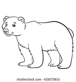 Coloring pages. Wild animals. Cute bear stands and smiles.