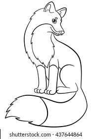 Coloring pages. Wild animals. Little cute fox sits and smiles.